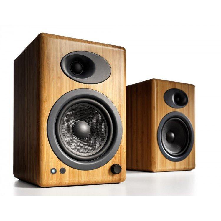 Audioengine A5 Plus Classic 150W Powered Bookshelf Speakers with Remote Control, Built in Analog Amplifier - Bamboo