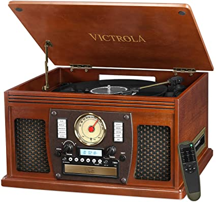 Victrola 8-in-1 Bluetooth Record Player & Multimedia Center, Built-in Stereo Speakers - Turntable, Vinyl to MP3 Recording   Wireless Music Streaming   Mahogany