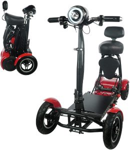 Foldable Lightweight Li-on Battery Power Mobility Scooters Easy Travel Electric Wheelchair Multi Terrain Scooter for Adults with Child Seat (Black) by Medical Care