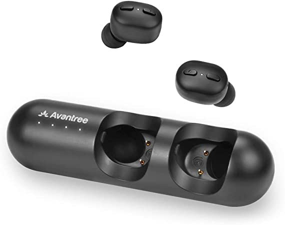 Avantree Mini True Wireless Earbuds for Small Ears Canals, Sport Bluetooth 5.0 Earphones with Volume Track Control & Mic, Clear Sound, Charging Case, 28H Playtime - TWS110