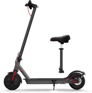 """Hiboy S2 Electric Scooter with Seat - 8.5"""" Solid Tires - Up to 17 Miles & 18.6 MPH Folding Commuting Scooter for Adults with Double Braking System, Rear Suspension and App"""